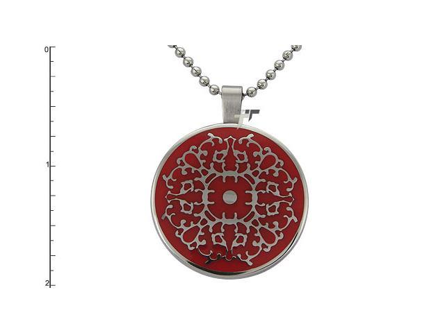 Stainless Steel Pendant w/ Red Resin Inlay