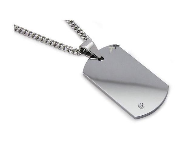 Tungsten Carbide Dog Tag Pendant w/ Diamond Stone