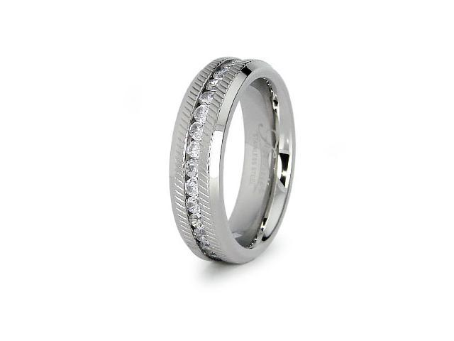 Stainless Steel Eternity Wedding Band