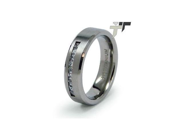Titanium CZ Wedding Ring