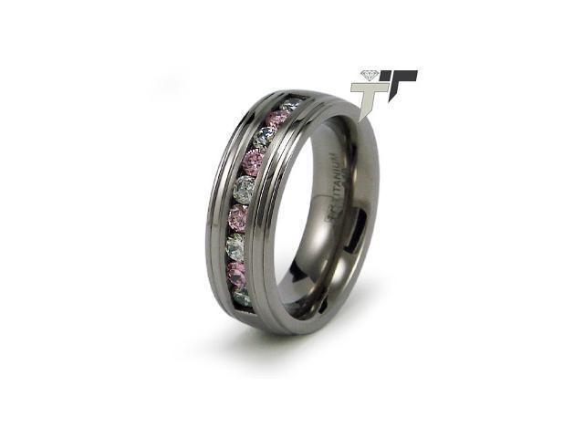 Titanium Pink and White CZ Ring