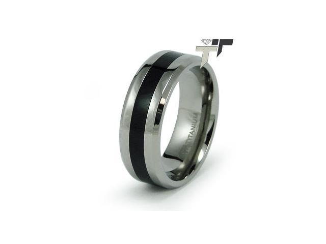Titanium Ring w/ Black Resin Inlay