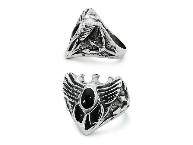 Stainless Steel Wings Onyx Ring