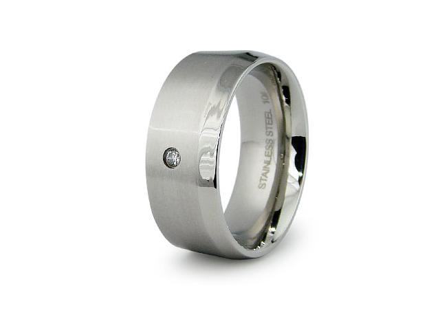 Stainless Steel with CZ Ring 9mm