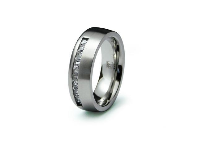 Stainless Steel Flat CZ Ring