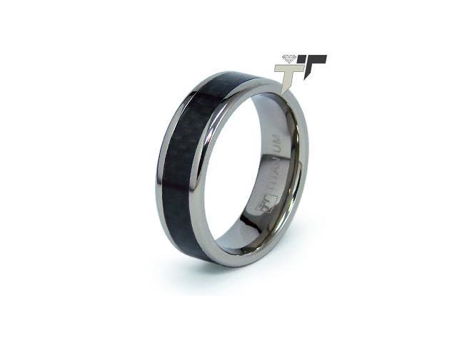 Titanium Carbon Fiber Inlay Men's Ring
