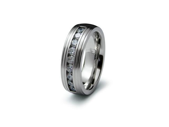 Stainless Steel Grooved CZ Ring