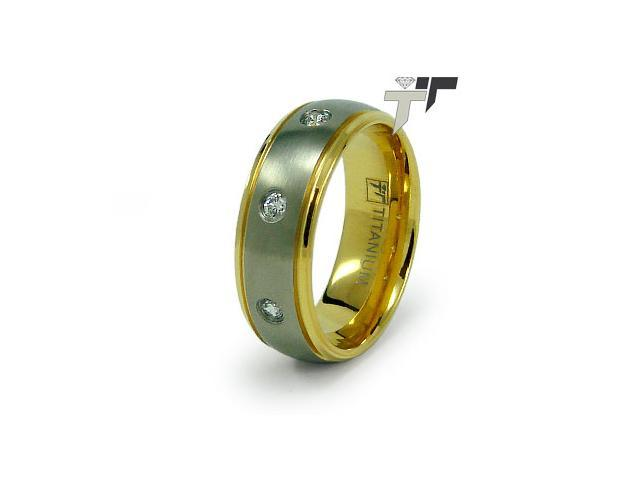 Titanium Golden CZ Wedding Ring 8mm