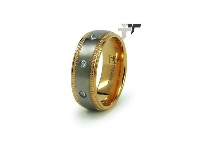 Titanium 14K Gold Plated Wedding Ring w/ CZ