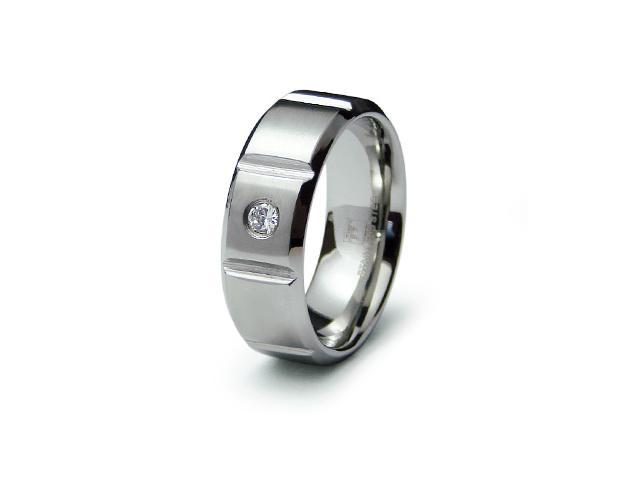 Men Stainless Steel Grooved CZ Ring