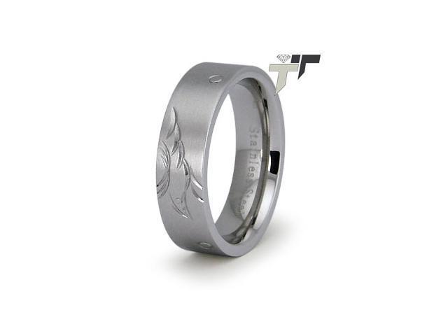 Stainless Steel Ladies Ring w/ Engrave