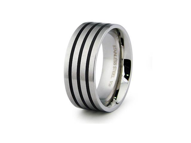 Stainless Steel Ring with Black Resin Inlay
