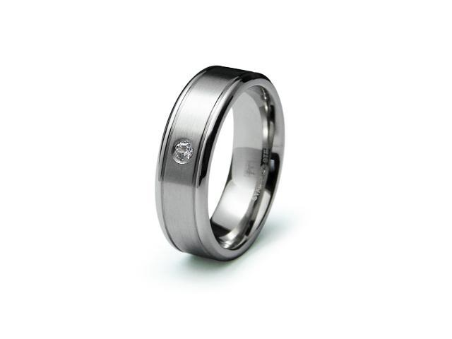 Stainless Steel Satin Finish CZ Ring