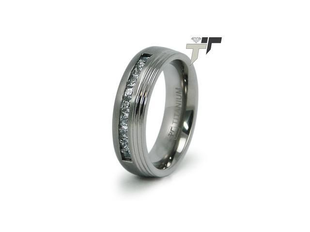 Titanium Wedding Ring with CZ's