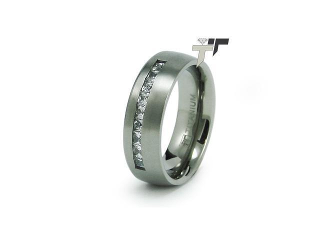 Titanium Satin Finish CZ Ring