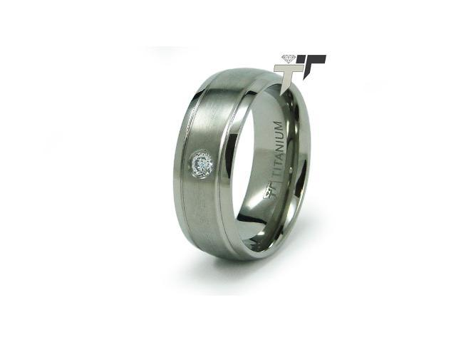 8mm Titanium CZ Wedding Ring
