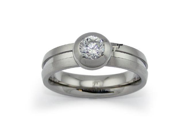 Stainless Steel Solitaire CZ Ring 5mm