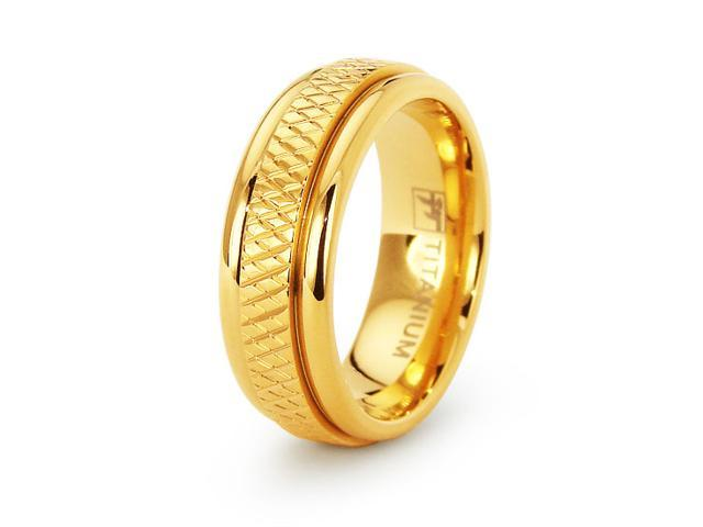 18k Gold Plated Womens Titanium Wedding Band