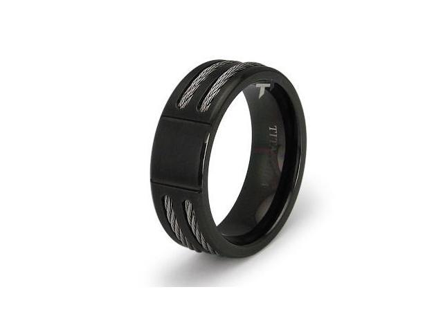 Double Cable Black Titanium Ring with Grooving