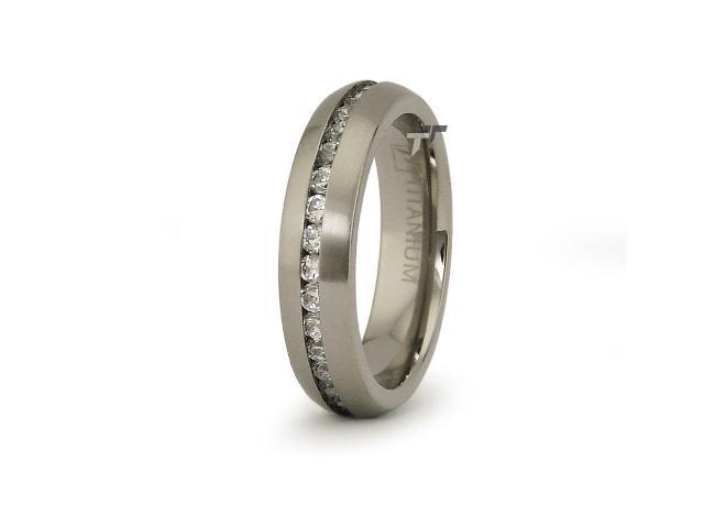 Titanium Eternity Wedding Ring with CZ