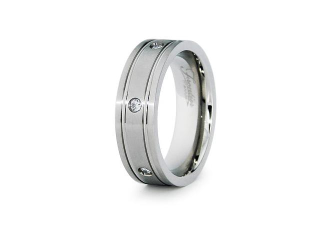 Titanium Wedding Bands with CZ 7mm