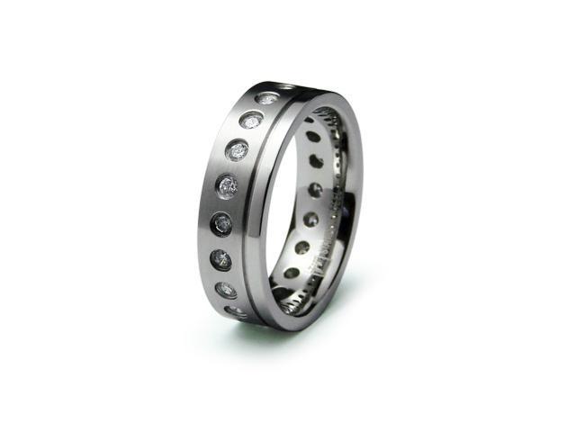 Stainless Steel Men's CZ Ring