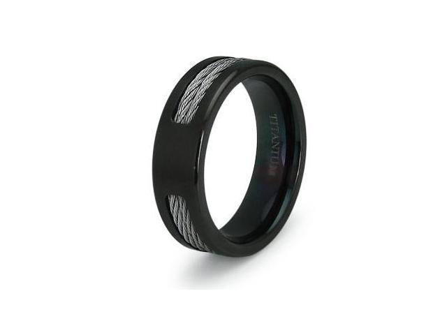 Double Cable Black Titanium Ring