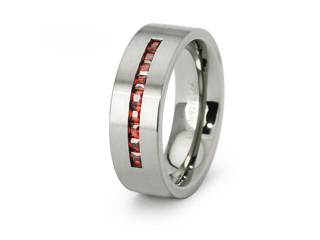 Garnet CZ Color Ladies Titanium Band