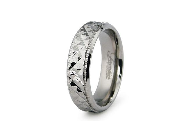 Fine Toned Diamond Cut Titanium Ring
