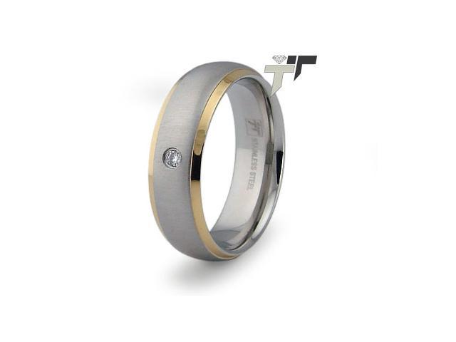 Stainless Steel Men's CZ Ring
