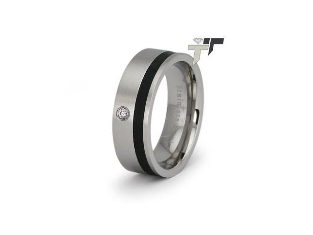 Ladies Stainless Steel Ring w/ CZ