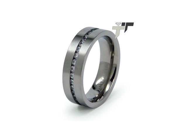 Titanium Cubic Zirconia Wedding Ring