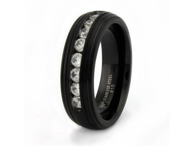 Black Stainless Steel Men's Ring w/ CZ