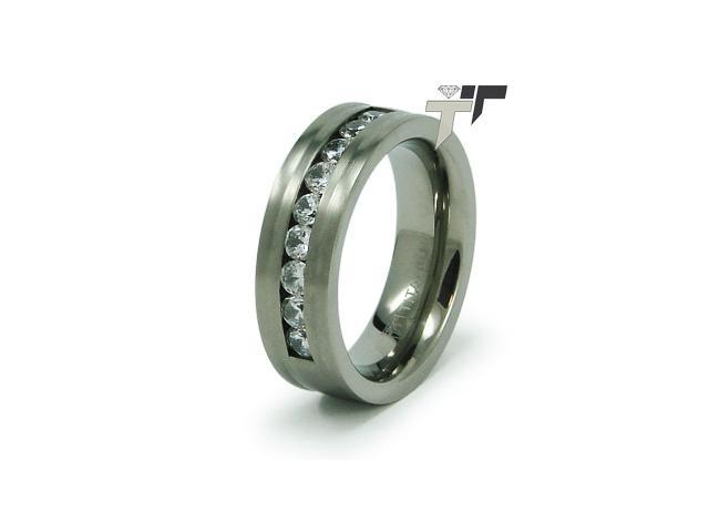 7.5mm Titanium CZ Ring