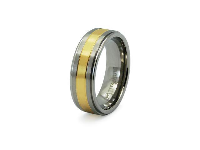 Titanium Golden Inlay Wedding Ring