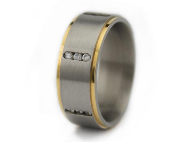 Titanium Men's Rink w/ Gold Plated Edge & CZ