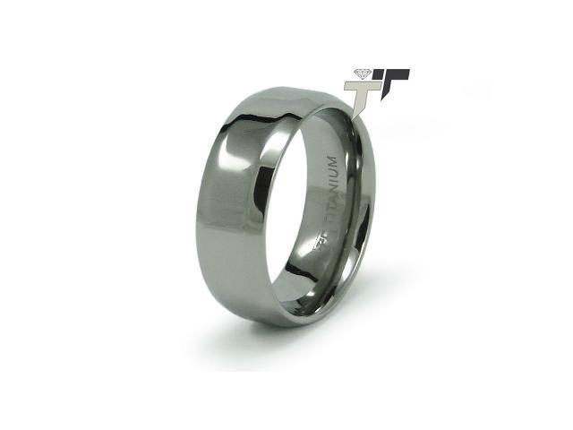 8mm High Polish Titanium Ring