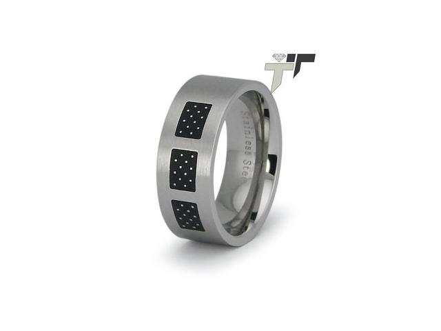 Stainless Steel Ladies Ring w/ Dotted Oxidation