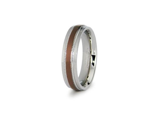 Two Tone Stainless Steel Ladies Wedding Band