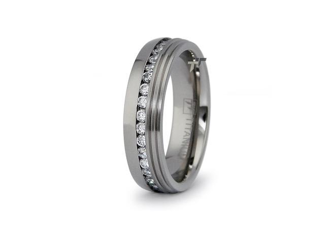 Eternity Titanium Rings with CZ 6.5mm