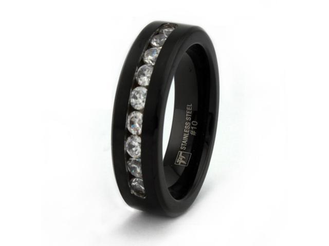 Black Stainless Steel Men's Ring w/ CZ 7.5mm