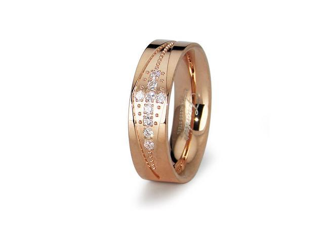 Stainless Steel Rose Gold Ladies Wedding Bands