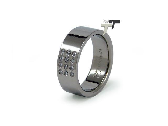 Titanium Flat Band with CZ Ring