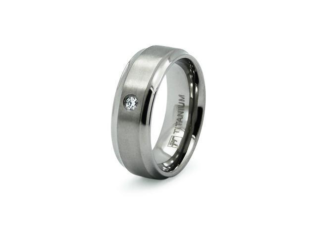 Titanium Concave CZ Ring