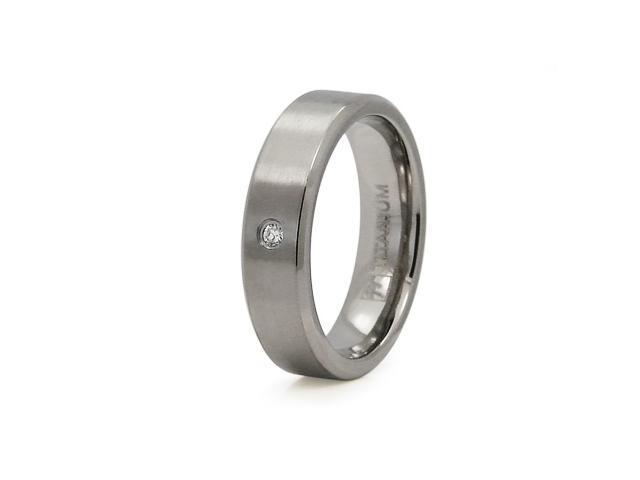 Titanium Satin Finished 6mm CZ Ring