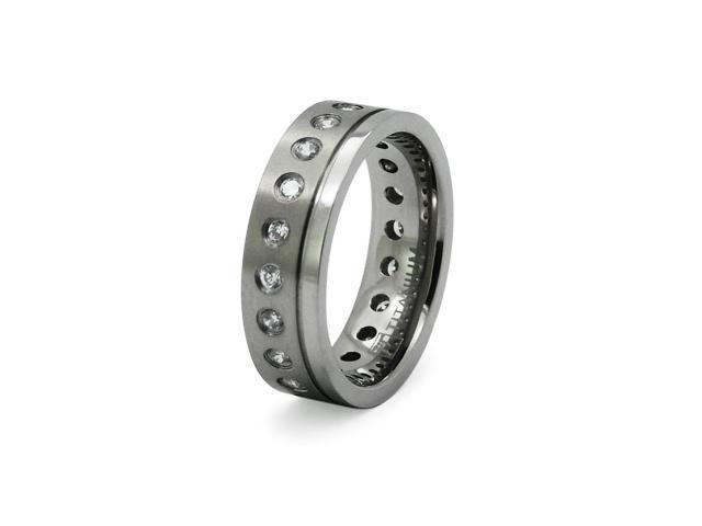Titanium w/ CZ Ring Satin Finished
