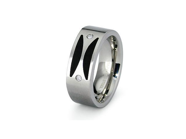 Stainless Steel Porcelain CZ Ring