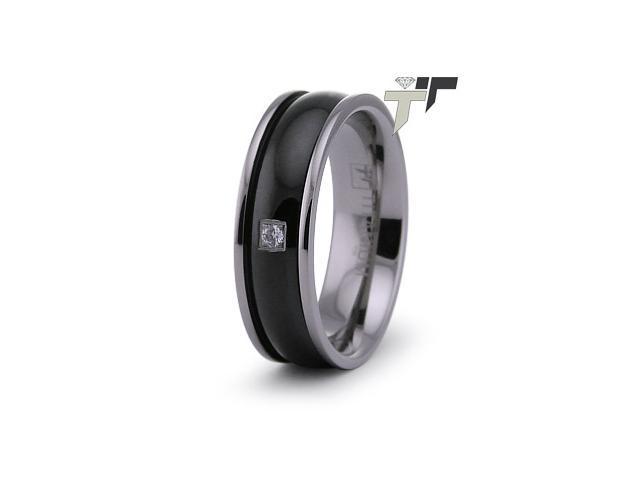 Black PVD Titanium Ring w/ CZ