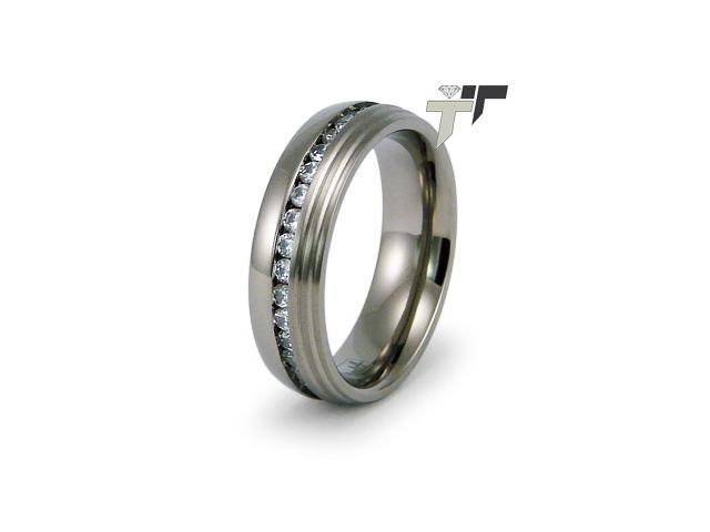 Titanium Wedding Ring with CZ's