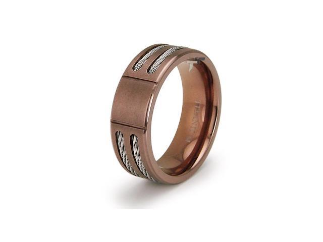 Double Cable Titanium Ring with Grooving